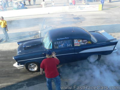Navy Blue 1955 Chevy Burnout