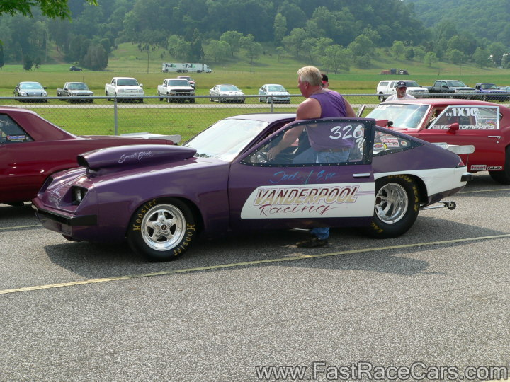 Purple and White Monza Drag Car